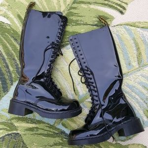 Dr Martens Black Patent Leather Knee High Boots 8